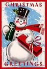 Vintage Frosty the Snowman Christmas Greetings 3 sizes Quilting Fabric Block