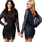Sexy Women Lace Backless Long Sleeve Chiffon Party Cocktial Mini Dress