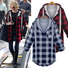 New Women Long Sleeve Hooded Scottish Plaid Check Tops Shirt Blouse Coat Outwear