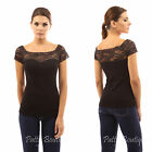 PattyBoutik Cotton Blend Lace Square Neck Insert Sweetheart Top