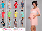 Womens Maternity Dress  3/4 Sleeve Square Neck Pregnancy Tunic Size 8-18 8490