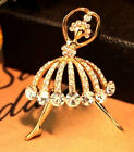 FD2641 Cute Golden Plated Ballet Girl Rhinestone Cystal Diamond Brooches Pins ♫