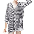 Lady Stand Collar V Neckline 3/4 Sleeves Pullover Plaids Tunic Blouses