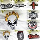 IRON ON PATCH Badge Music Glock Hypocrisy Taake Flaming Skull Carcass Phantom
