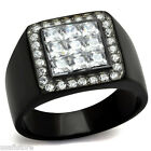 Mounted Nine Square CZ Pave Black Plated Stainless Steel Mens Ring