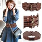 Womens Vintage Brown Leather Elastic Stretchy Buckle Wide Waist Belt Waistband