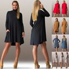 Sexy Women Casual Loose Turtleneck Long Sleeve Party Cocktail Evening Mini Dress