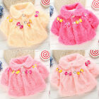 Winter 4 Flowers Newborn Baby Girl Fur Cloak Outerwear Coat Jacket 0 1 2 3Year