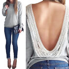 New Women Summer Backless Long Sleeve Blouse Casual T-Shirt Blouse Tops Lace Hot