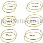 Women Ladies Stainless Steel Big Large Circle Hoop Dangle Earrings Gold Tone image