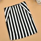 Women's Classic OL Black & White Vertical-Striped Bodycon Pencil Skirt Dress