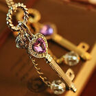 Charm Women Gold Silver Love Heart Key Pendant Long Chain Necklace Jewelry Hot