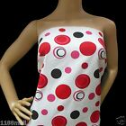 FFA-196 (RED BLACK WHITE POLKA DOTS) COTTON LINEN CANVAS FABRIC Metre/Yard