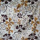 FFA-133 BROWNS FLORAL ON WHITE COTTON LINEN CANVAS FABRIC Metre/Yard