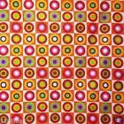 FFA-139 RETRO ROUNDS PLAID VIVID COTTON LINEN CANVAS FABRIC Metre/Yard