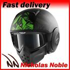 SHARK RAW DANTE MAT Black Green OPEN FACE STREET FIGHTER MOTORCYCLE HELMET