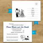 Personalised Unique & Funny Wedding RSVP Cards Blue + 10 More Colour Options RG1