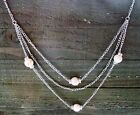"Long 32"" Necklace 3 Layer Multi Bead Rhinestones Chain Cowgirl Fashion Jewelry"