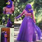 Fashion Purple Long Sleeve Maxi Islamic Arabic Kaftan Dubai Evening Party Gown