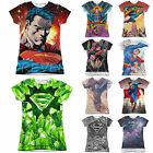 Superman Licensed Sublimation Women's Junior T-Shirt Short Sleeve Tee Top Whites