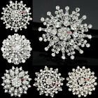 8-50 Bulk Large Silver Rhinestone Women Brooch Pin Wedding Bouquet Wholesale Lot