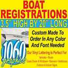 "3.5""H x 20""W BOAT REGISTRATION NUMBERS CUSTOM OUTDOOR VINYL LETTERING DECAL SETS"
