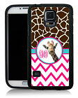 MONOGRAMMED RUBBER CASE FOR SAMSUNG S4 S5 S6 CUTE GIRAFFE HOT PINK CHEVRON