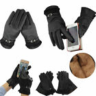Women Winter Leather Motorcycle Driving Full Finger Touch Screen Black Gloves