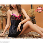 Sexy Black Chemise Set String Thong Nightdress Nightwear Lingerie S/M 8/10/12/14