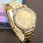 New Women's Men's Crystal Rhinestone Stainless Steel Analog Quartz Wrist Watch