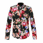 Luxury Mens Floral Print Shirts Slim Fit Long Sleeve Button Rose Pattern Shirts