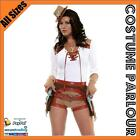 Womens Sheriff Cowgirl Wild West Western Cowboy Fancy Dress Costume All Sizes