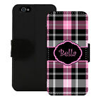 PERSONALIZED WALLET CASE FOR iPHONE 5 5S SE 6 6S 7 PLUS BLACK PINK PLAID
