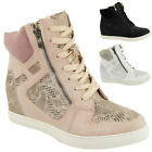 WOMENS LADIES LACE UP WEDGE SHOES SNEAKERS TRAINERS LOW HEEL ANKLE BOOTS SIZE
