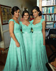 Mint Long Handwork Chiffon Formal Prom/Bridesmaid Cocktail Party Evening Dress