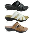 New Womens Sandals Slides Peep Toe Wedge Shoes Low Heels Size 5 to 11 HOPE-10