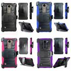 Premium Rugged Impact Armor Holster Belt Clip Stand Combo Case Cover for LG K7