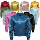 WOMENS LADIES MA1 SATIN RETRO ARMY FLIGHT MILITARY VINTAGE BOMBER BIKER JACKET
