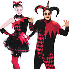 Jester Halloween Costumes Mens Ladies Medieval Adults Fancy Dress Costume + Hat
