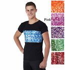 Men Boys Dance Shirt Sequin Matte Jersey COLORS Costume Ballet Jazz Tap 6X7-2XL