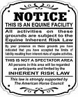 Supplemental Equine Liability Sign Warning Statute Horse Barn Stable Farm Sign