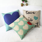Romantic Sweet Love Heart Cotton Linen Pillowcase Sofa Cushion Cover Home Decor