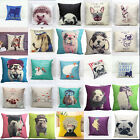Cotton Linen Cartoon Silent Pug Dog Pillow Case Sofa Waist Cushion Cover Decor