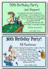 30th 40th 50th 60th 70th 80th snooker darts personalised birthday invitations