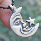 Astronomical Hippie Tarot Gypsy Smile Happy Crescent Moon Star pewter pendant