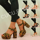 NEW WOMENS BLOCK HEEL PLATFORM SANDALS LADIES MID HIGH HEEL STRAPPY SHOE SIZE UK