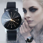 Fashion Womens Leather Stainless Steel Date Dress Quartz Analog Wrist Watch часы