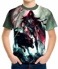 Spear Warrior Next To Black Wolf Boy's Kid Youth T-Shirts Tee Age 3-13