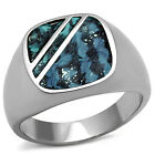 Sea Blue Dyed leather Top Silver Stainless Steel Mens Ring