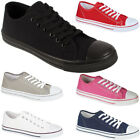 Womens Ladies Girls Canvas Plimsoles Lace Up Trainers Flat Pumps Casual Shoes Uk